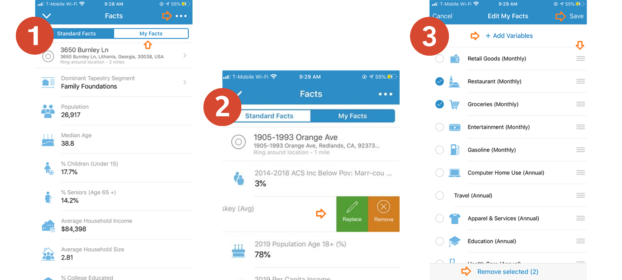 "Customizable ""My Facts"" in ArcGIS Business Analyst Mobile App."