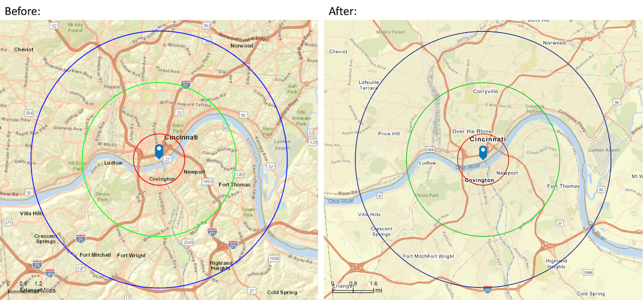 Enhanced map reports - blurry, crowed image on left with clear, non-crowded version on the right.