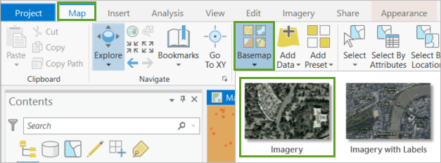 Imagery in the basemap gallery