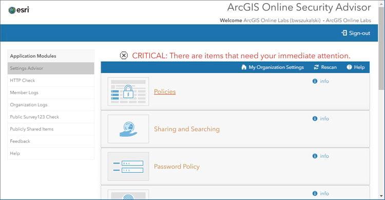 ArcGIS Online Security Advisor