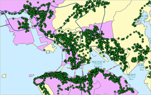 Map of Hong Kong with yellow and purple areas