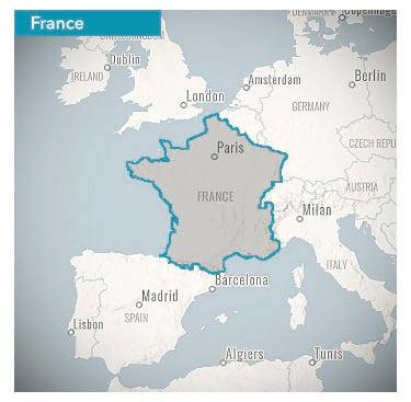 outline map of France