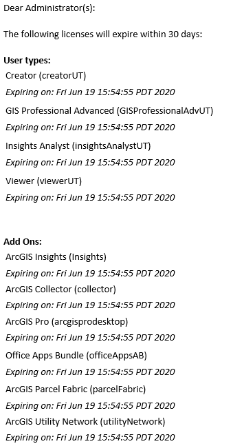 Email notification warning of an upcoming ArcGIS Enterprise portal license expiration