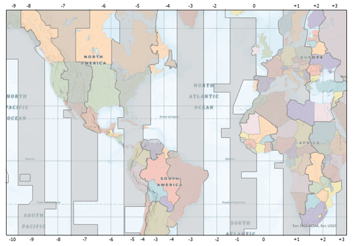 A world map with a custom grid showing time zones