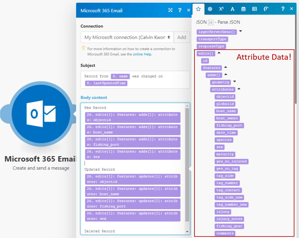Example of accessing attribute data in an email