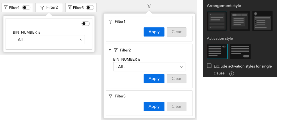 Filter with arrangements