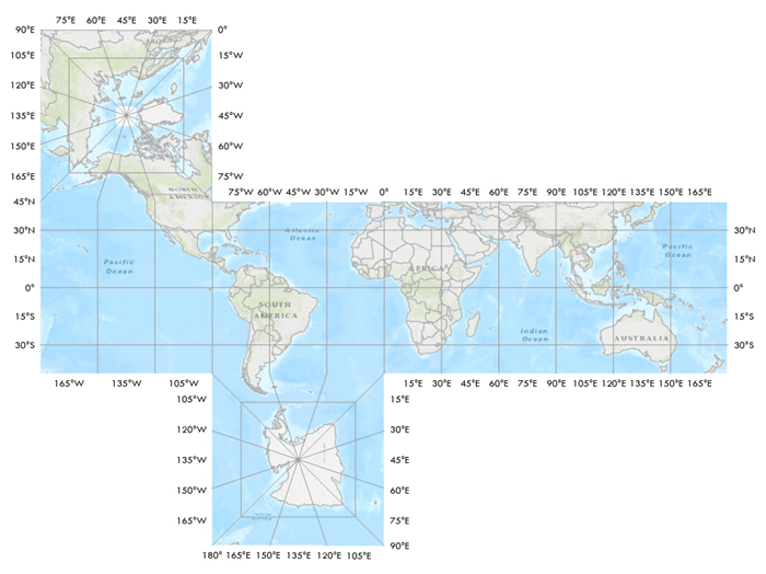 World map in the Cube projection with a 5 degree graticule