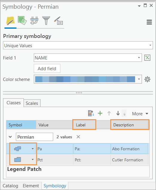 The symbology pane showing the label, description, and patch size