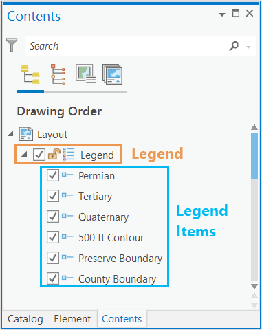 Showing the legend and legend items in the Contents pane