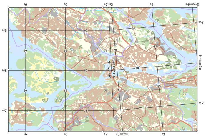 A map of land use in Stockholm, Sweden with 2 MGRS grids, for UTM zones 33 and 34 north