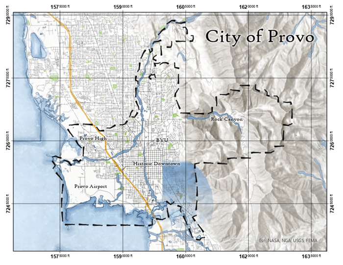 City map of Provo, Utah with a measured grid showing state plane coordinates