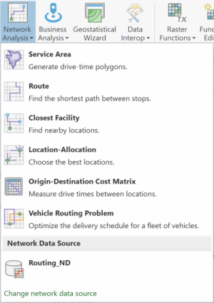 Network Analysis drop-down to select analysis layer type