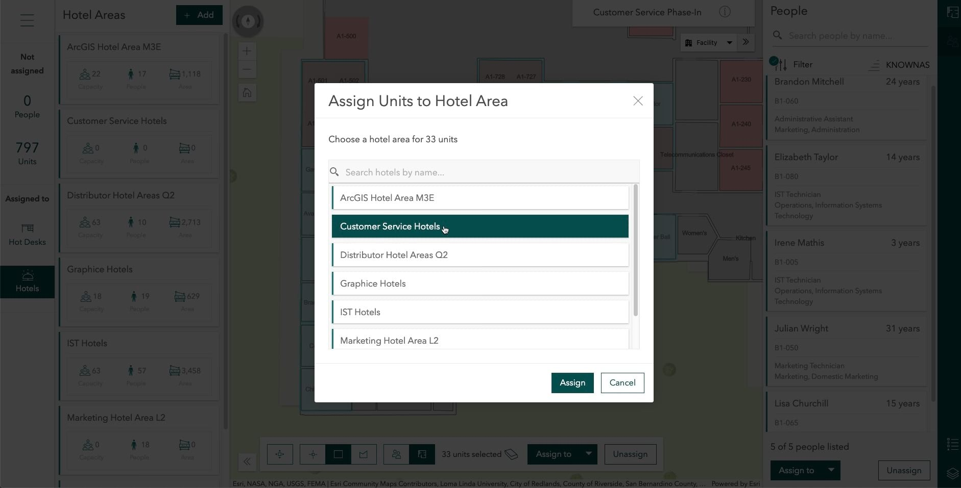 ArcGIS Indoors for ArcGIS Online is out now - assigning a unit to an office hotel