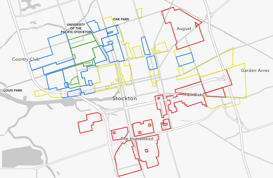 Map of Stockton, CA with neighborhood polygons outlined in colors: green, blue, yellow, and red which correspond to their historical grade of A, B, C, and D, respectively.