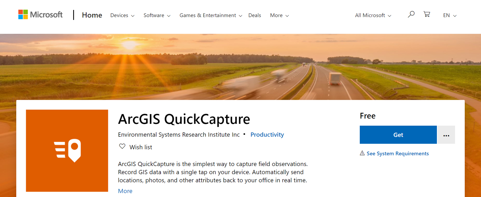 ArcGIS QuickCapture Microsoft Store Listing