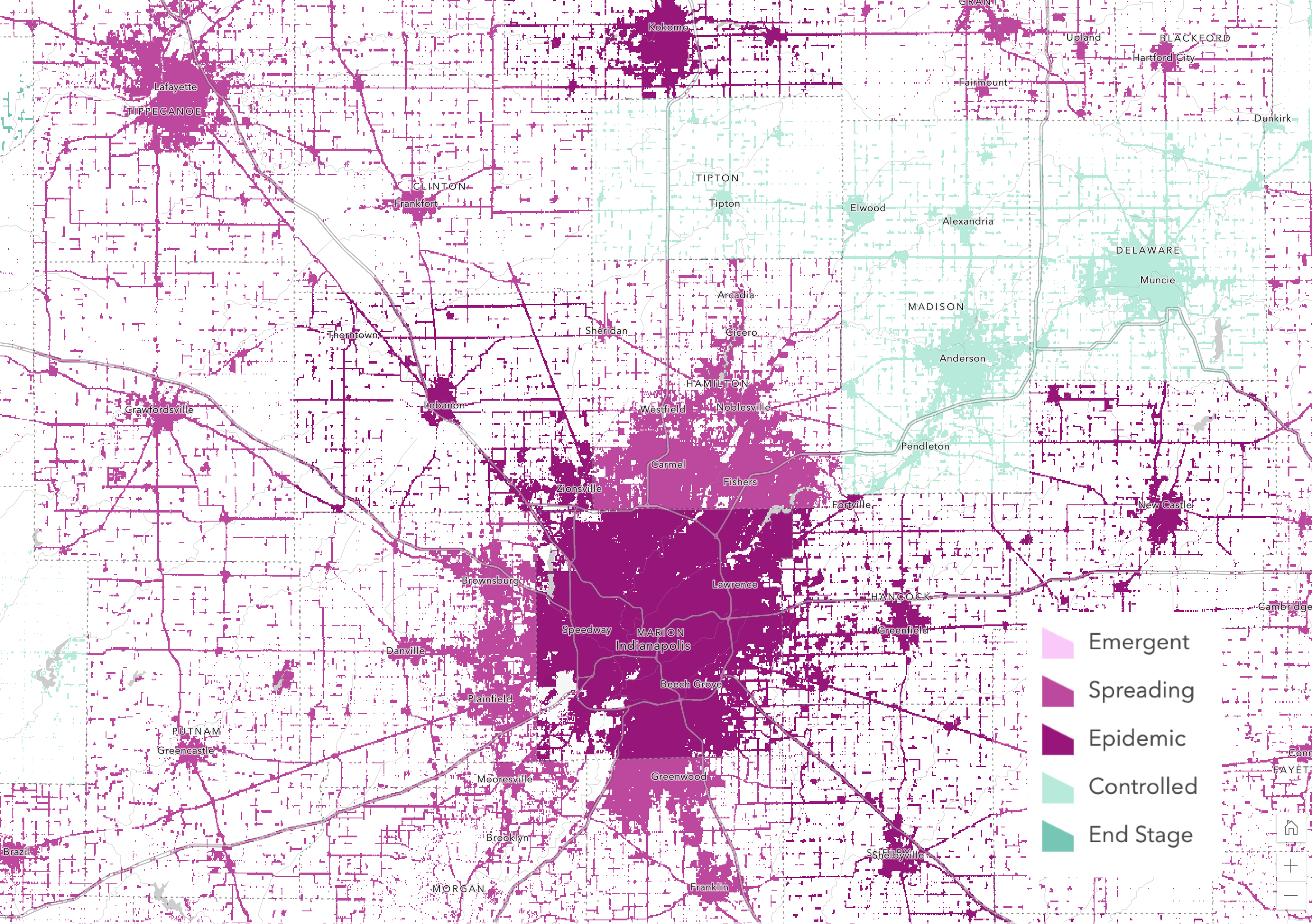 Figure 14: COVID-19 Trends around Indianapolis, IN, using the destination-atop method to blend World Population Estimate with county trends.