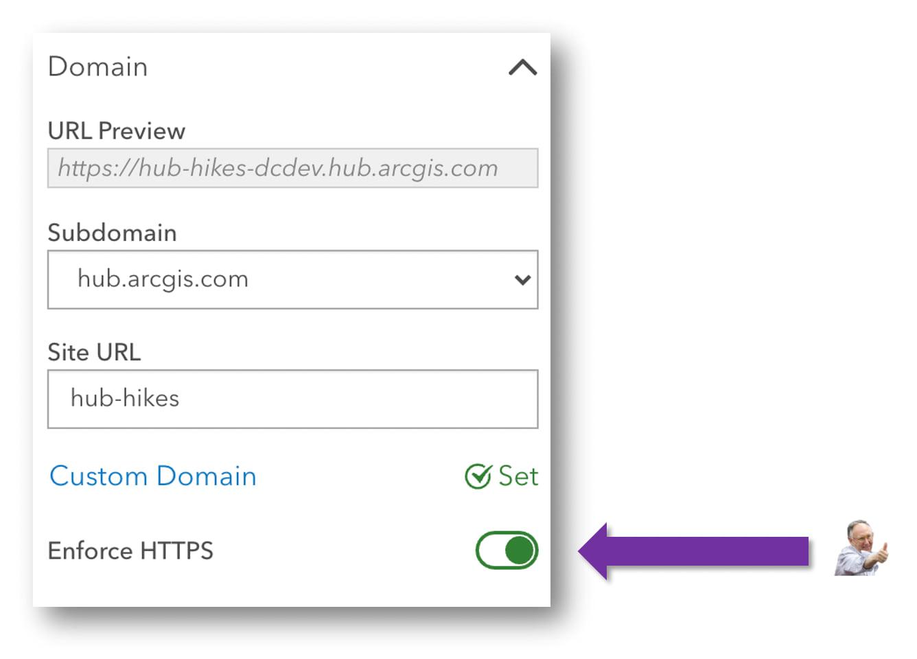 Image of Enforce HTTPS Setting in Site Settings in ArcGIS Hub