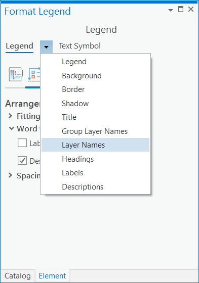 The legend part drop-down list in the Element pane.