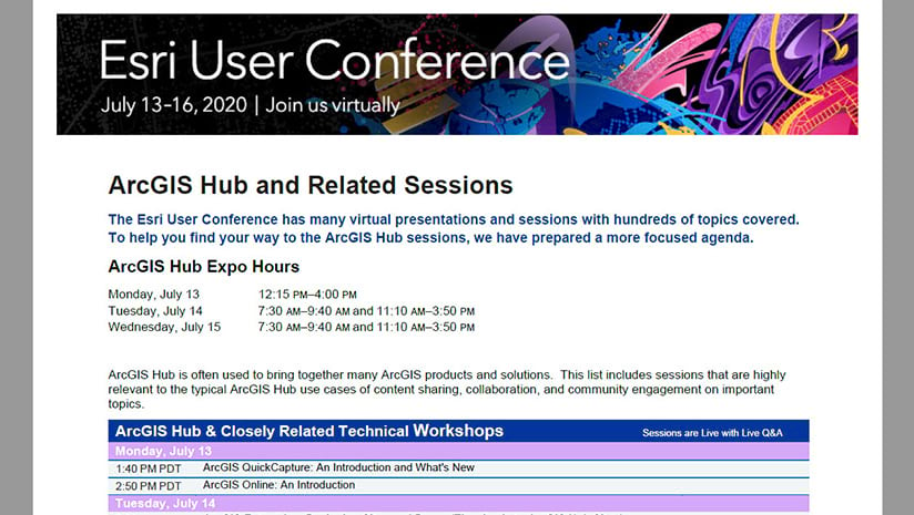 2020 Esri User Conference ArcGIS Hub related sessions guide