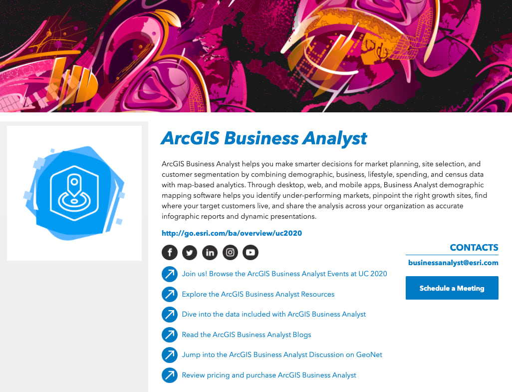 ArcGIS Business Analyst area page for the Esri UC 2020 virtual Expo