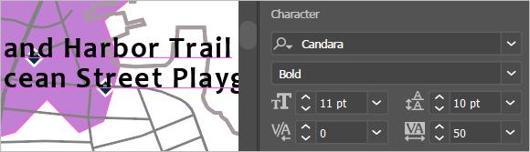 Font properties set to Candara Bold 11 pt