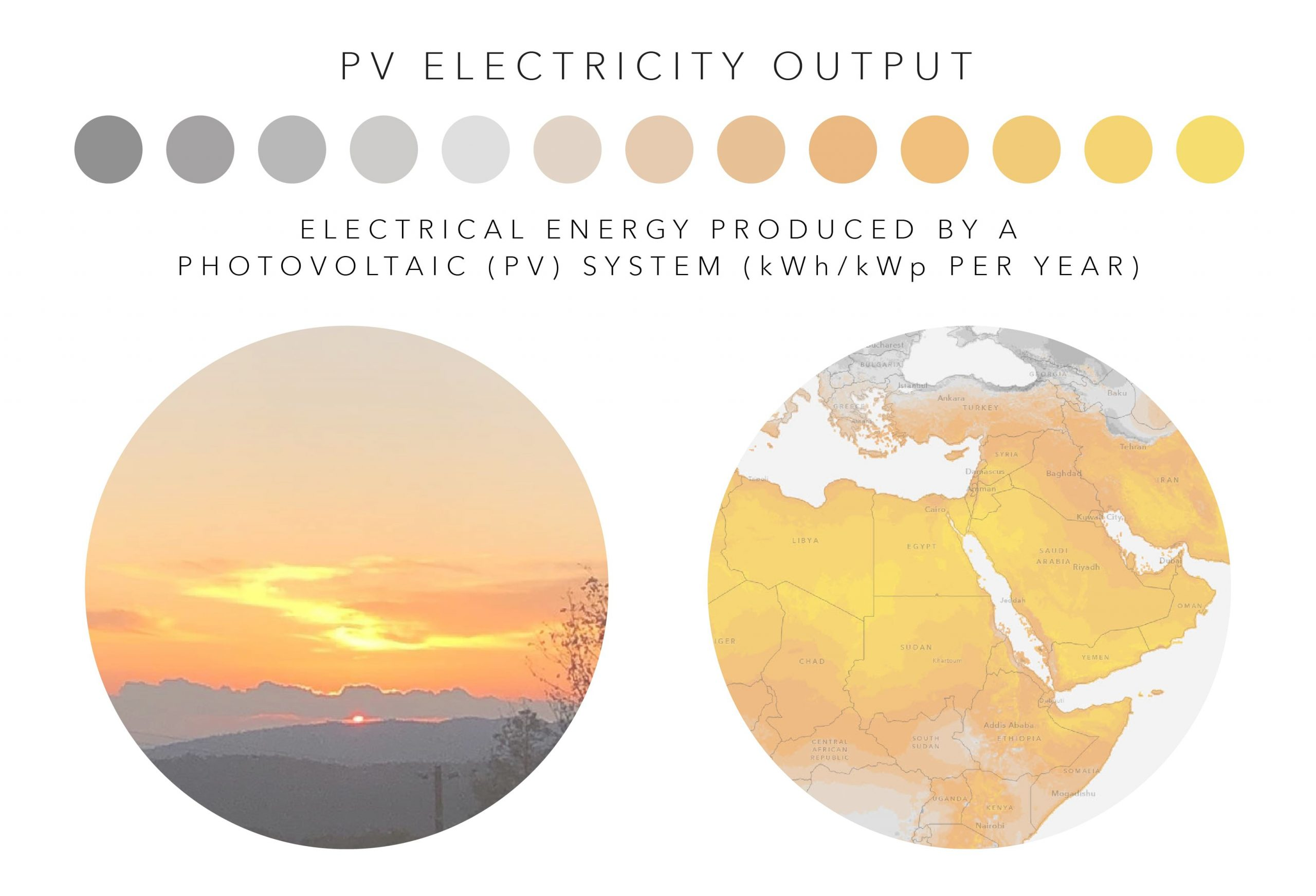 A picture of a sunset and the palette for the PV Electricity Output variable.
