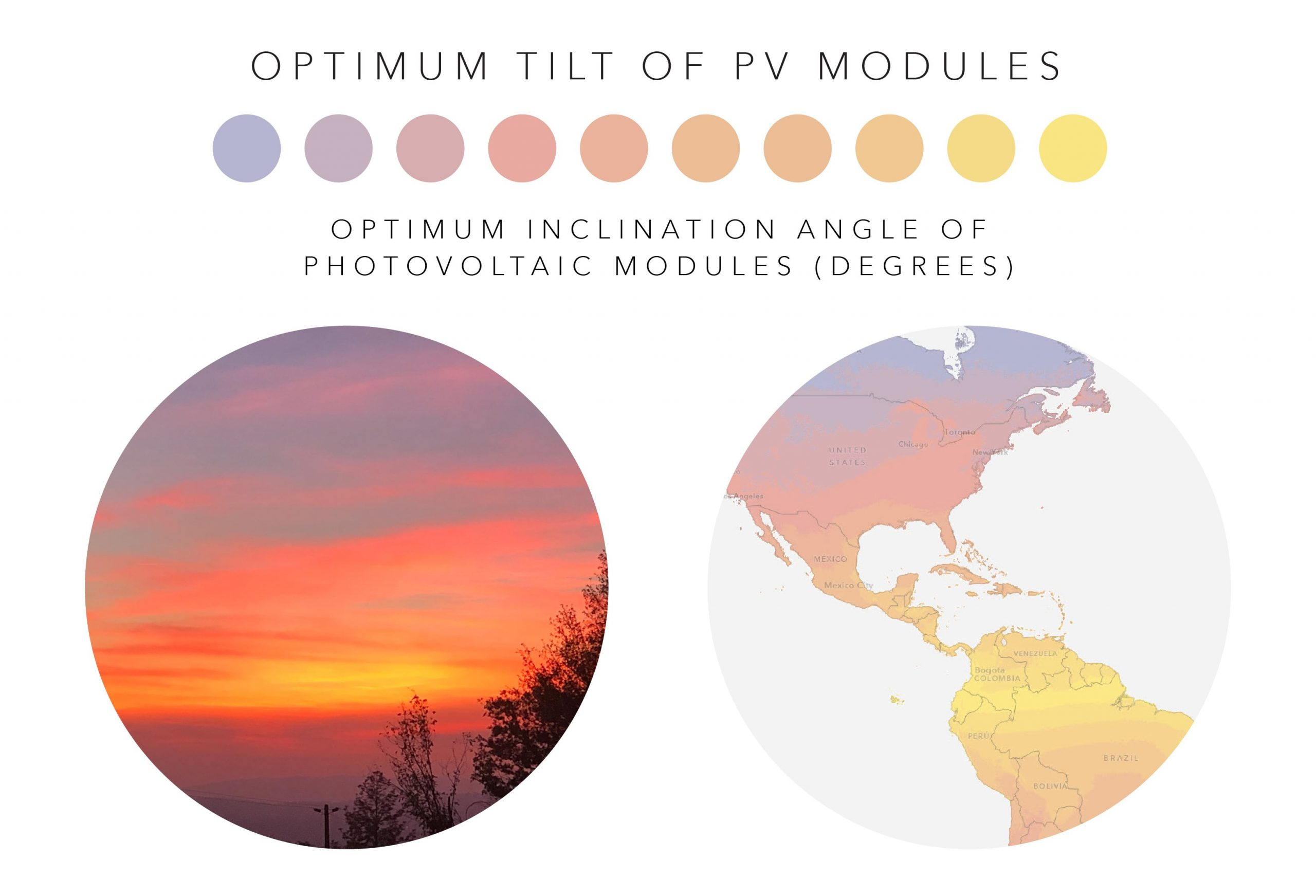 A picture of a sunset and the palette for the Optimum Tilt of PV Modules variable.