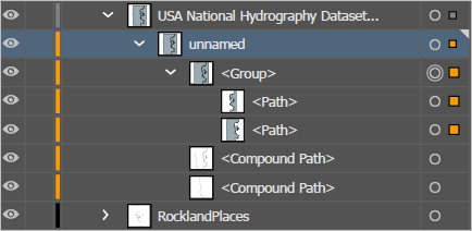 New Path layers inside the Hydrography group layer