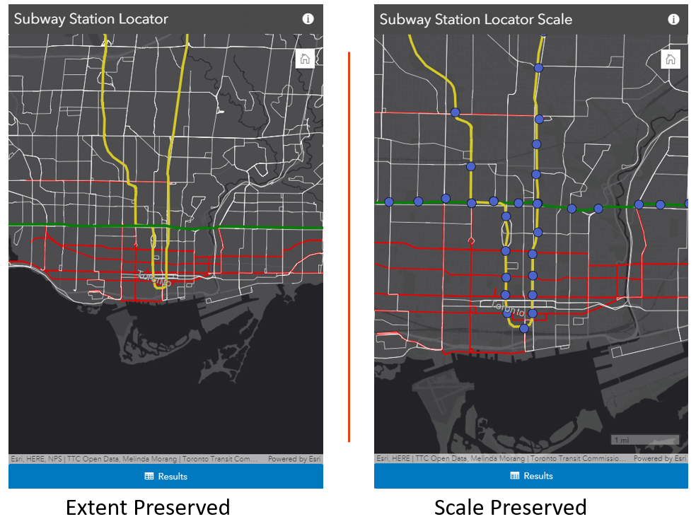 Comparing two apps with different map views set.