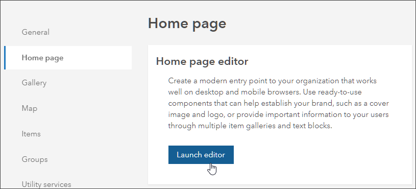 Home page settings