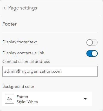 Footer settings