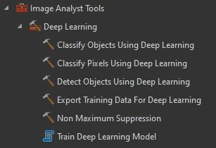 Deep Learning toolset in ArcGIS Pro.