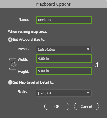Mapboard Options set to 4 by 6 inches