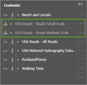 Two USA Roads layers are unavailable with gray warning icons