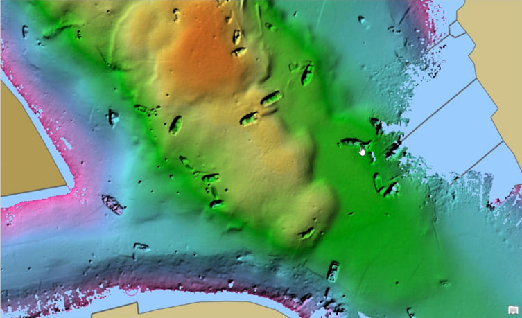 Shipwrecks seen in post-hurricane survey data.