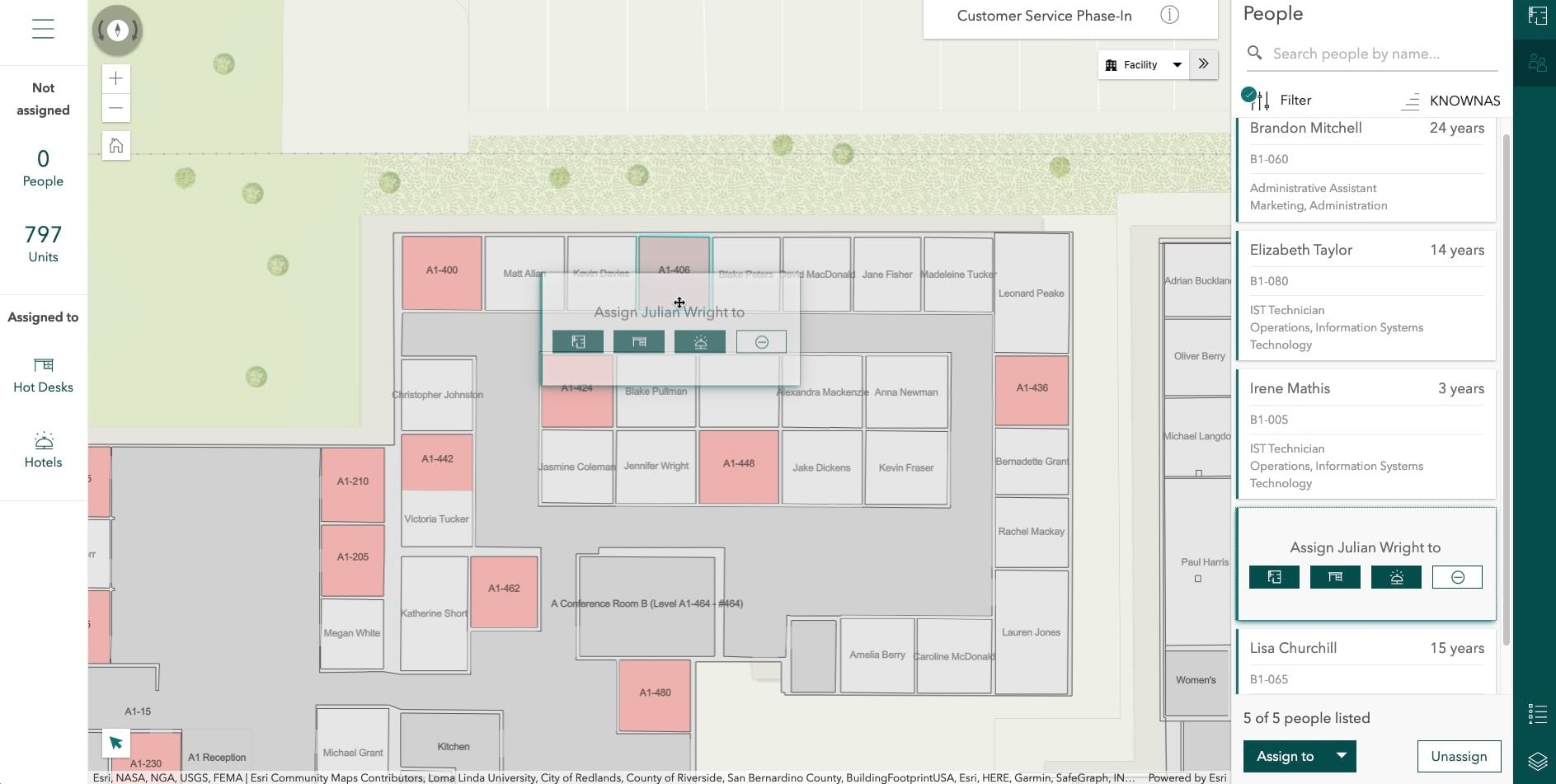 ArcGIS Indoors for ArcGIS Online is out now - space planner assigning a person to an office space