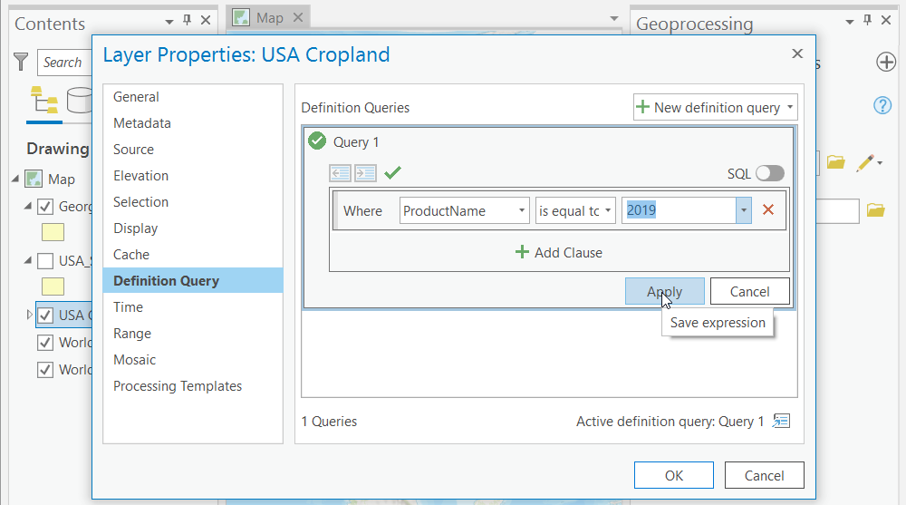 Applying a definition query to choose crop year 2019