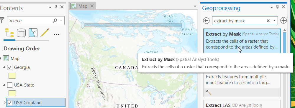 Extract By Mask geoprocessing tool