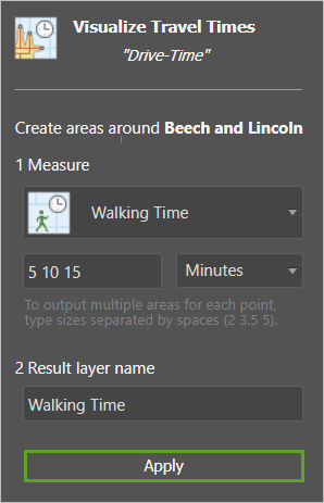 The Visualize Travel Times tool set to Walking times of 5,10, and 15 mintues