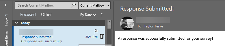 The email notification after a survey has been completed.