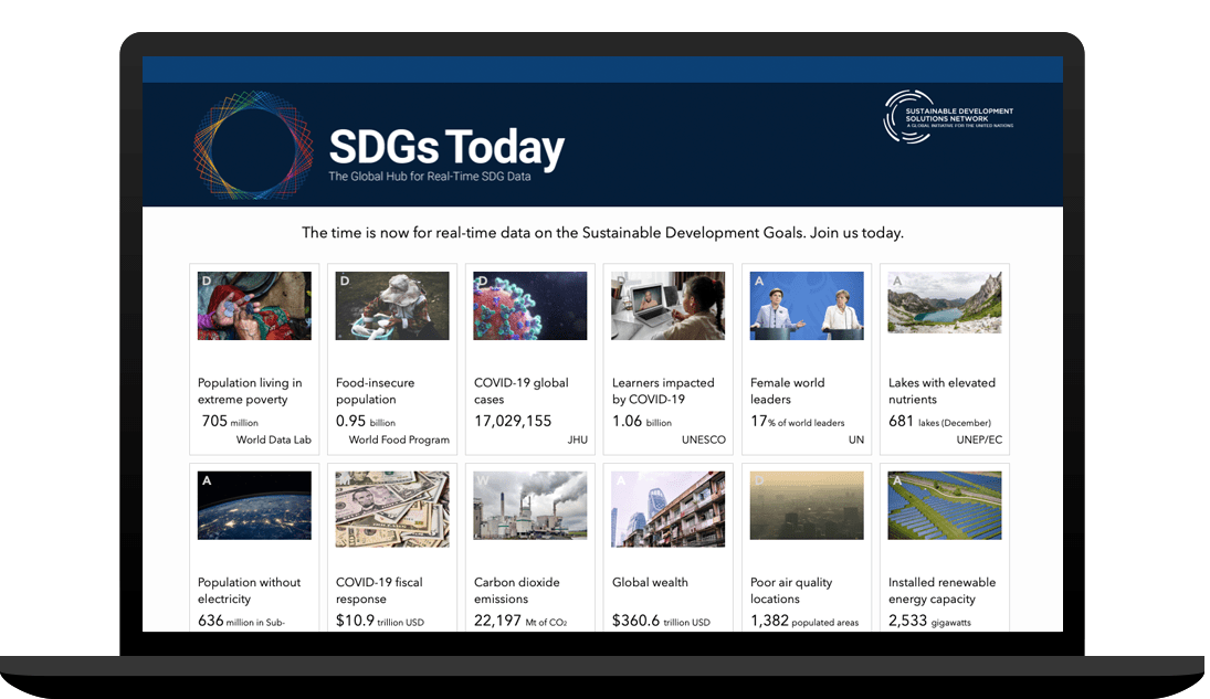 Snapshot of SDGs Today: The Global Hub for Real Time SDG Data