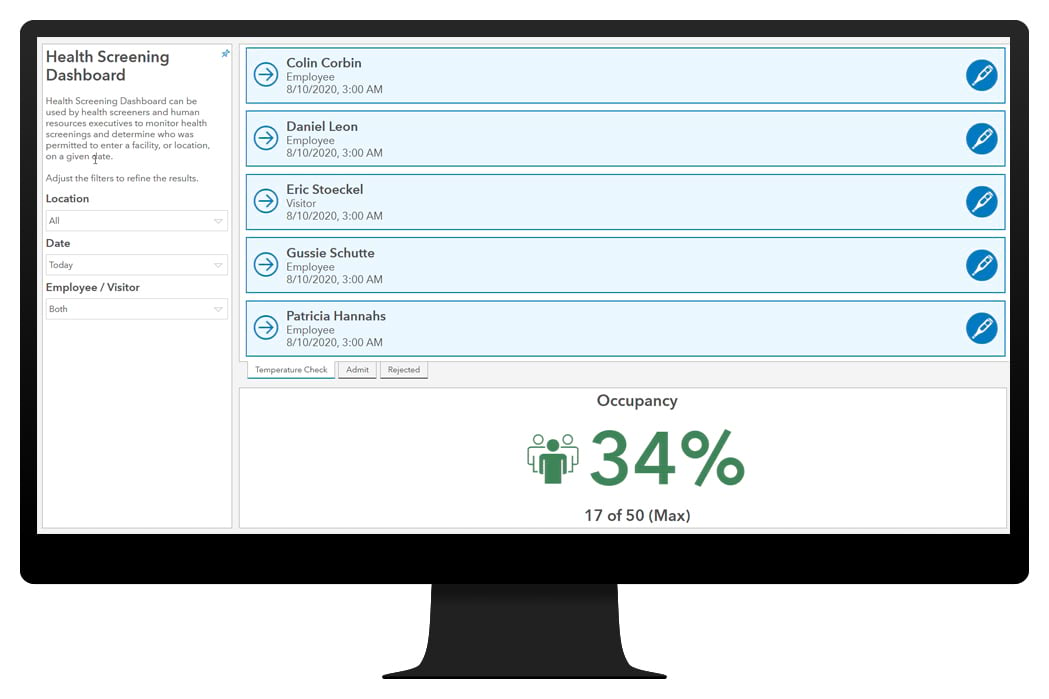 Graphic image of health screening dashboard