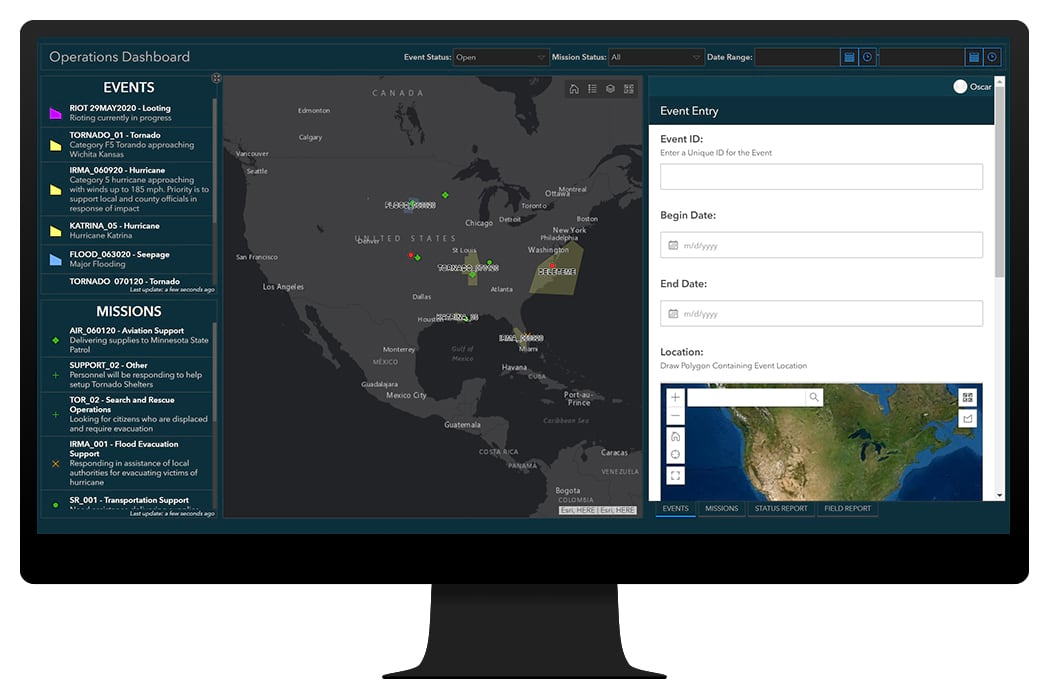 Graphic image of a dashboard application with maps