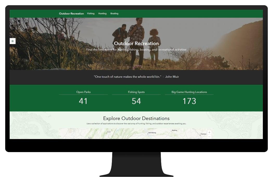 Graphic image of outdoor recreation website