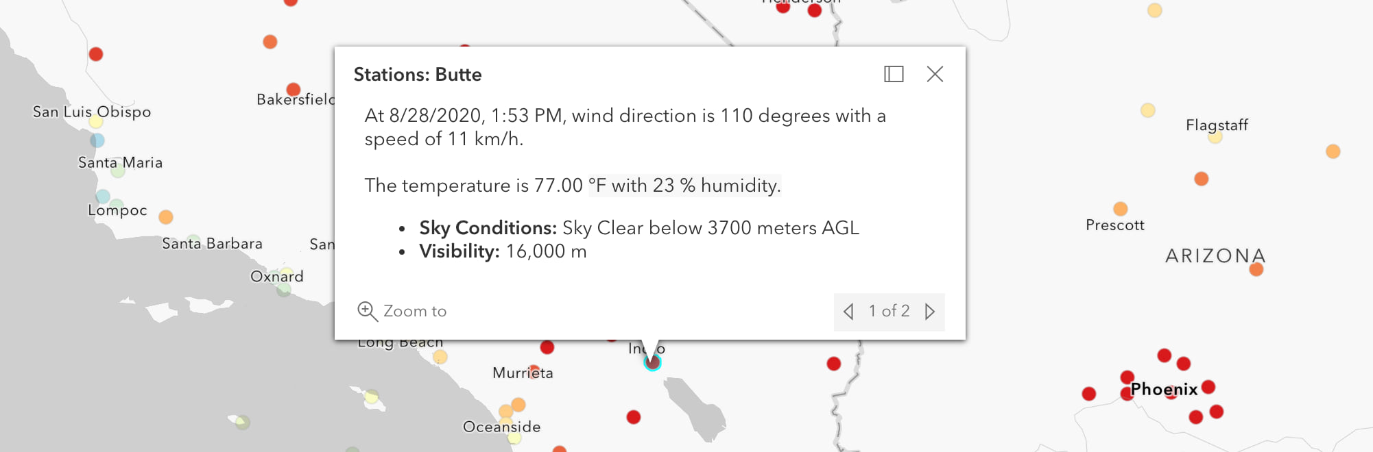 The popup defined on the Current Weather and Wind Station Data layer in the Living Atlas. The Living Atlas contains hundreds of authoritative layers with popups already configured and ready to use in production web apps.