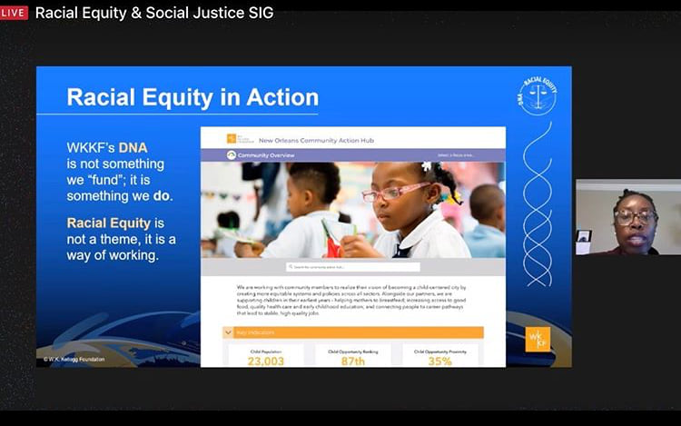 Deirdre Johnson Burel of the W.K. Kellogg Foundation talks about Racial Equity and racial justice in Action
