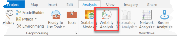 Visibility Analysis on ArcGIS Pro ribbon