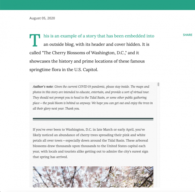 "Screenshot of the story ""The Cherry Blossoms of Washington, D.C."" embedded into Blogger with its header and cover hidden because I've written an introduction within the blog that would make the header and cover repetitive"