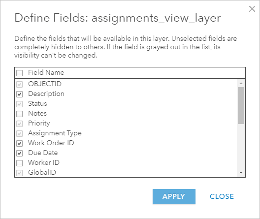Define Fields window