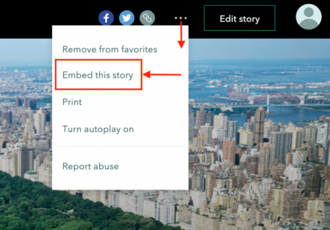 "Screenshot of the unfurled header menu in ArcGIS StoryMaps, with the option to ""embed this story"" highlighted."